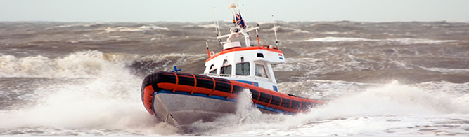 Coast Guard Boat in Rough Water